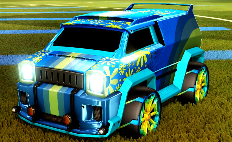 Rocket league Merc Sky Blue design with Aero Mage,Flower Power