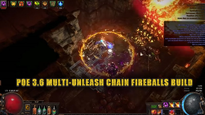 path of exile 3.6 multi-unleash chain fireballs build