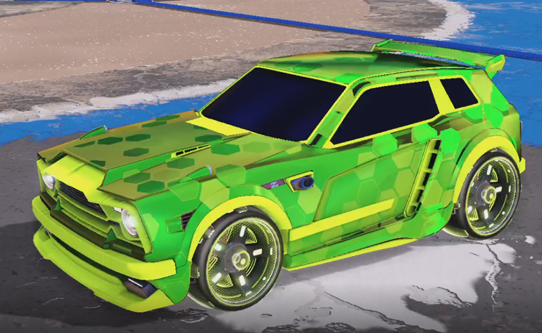 Rocket league Fennec Lime design with Zefram,Hex Tide