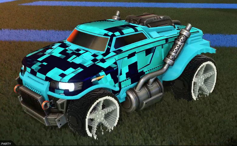 Rocket league Road Hog Sky Blue design with Low-Poly,Parallax