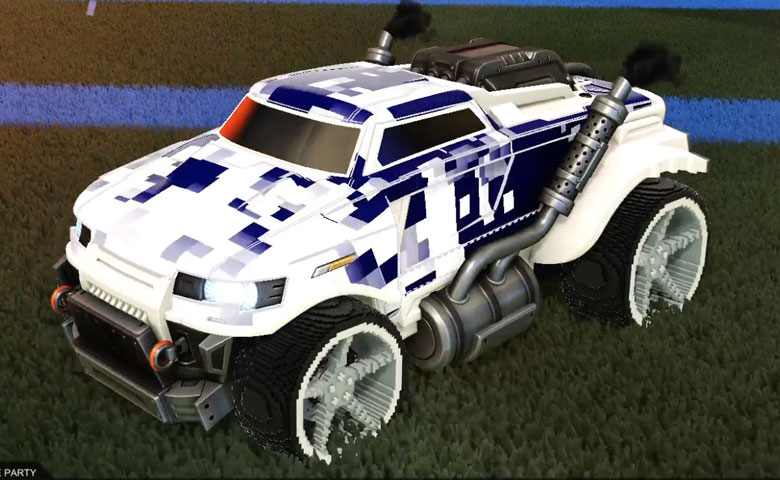 Rocket league Road Hog Titanium White design with Low-Poly,Parallax