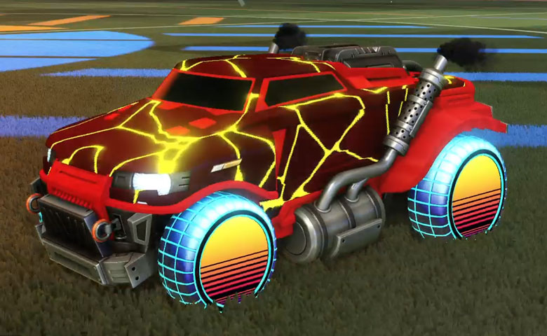 Rocket league Road Hog Crimson design with Sunset 1986 ,Magma
