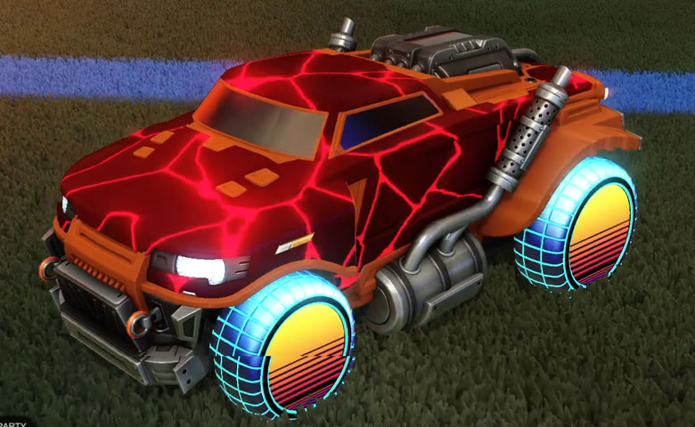 Rocket league Road Hog Burnt Sienna design with Sunset 1986 ,Magma