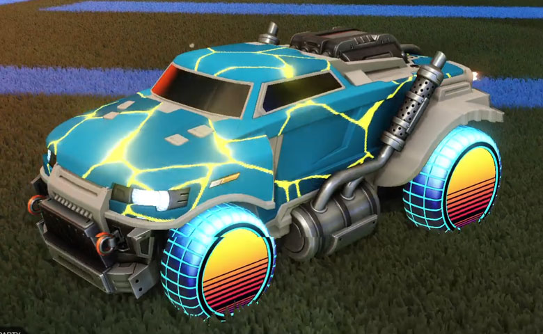 Rocket league Road Hog Grey design with Sunset 1986 ,Magma