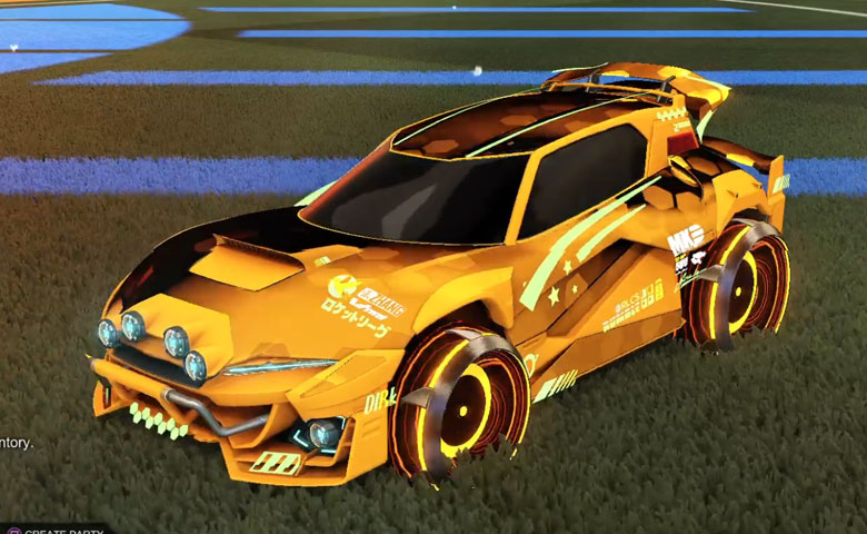 Rocket league Mudcat GXT Orange design with Irradiator,Hex Tide