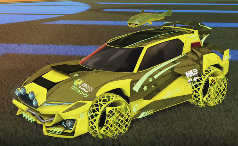 Rocket league Mudcat GXT Saffron design with Camo,Spectre