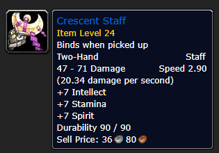 Best Overpowered Classic WoW Items At Low Level - Crescent Staff