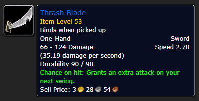 Best Overpowered Classic WoW Items At Low Level - Thrash Blade