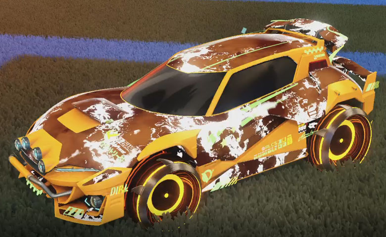 Rocket league Mudcat GXT Orange design with Irradiator,Fire God
