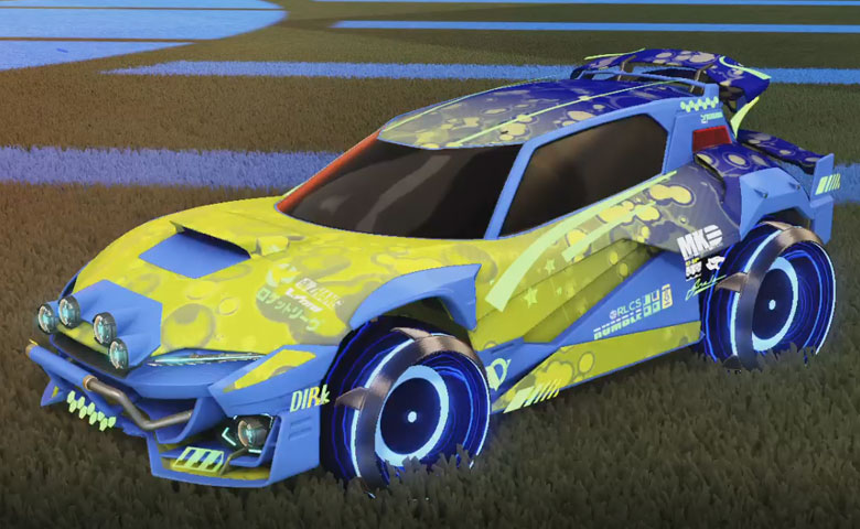 Rocket league Mudcat GXT Cobalt design with Irradiator,Bubbly