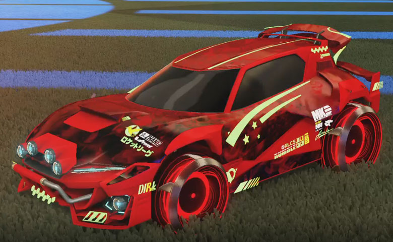 Rocket league Mudcat GXT Crimson design with Irradiator,Dissolver