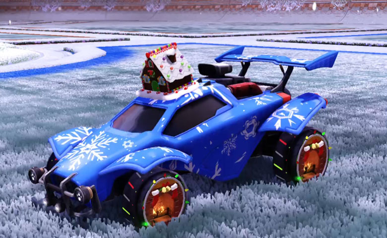 Rocket league Octane Cobalt design with Holiday Hearth,Sleet Creeps,Gingerbread House