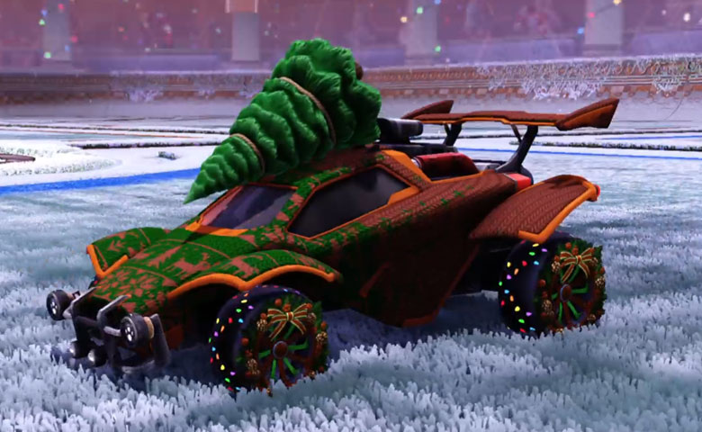 Rocket league Octane  Burnt Sienna design with Christmas Wreath,Cold Sweater,Fallen tree