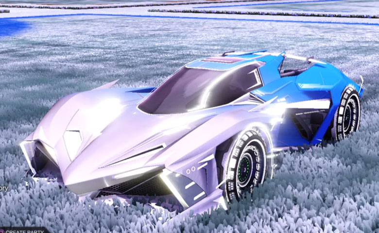 Rocket league Chikara GXT Titanium White design with Spiralis R2,Mainframe