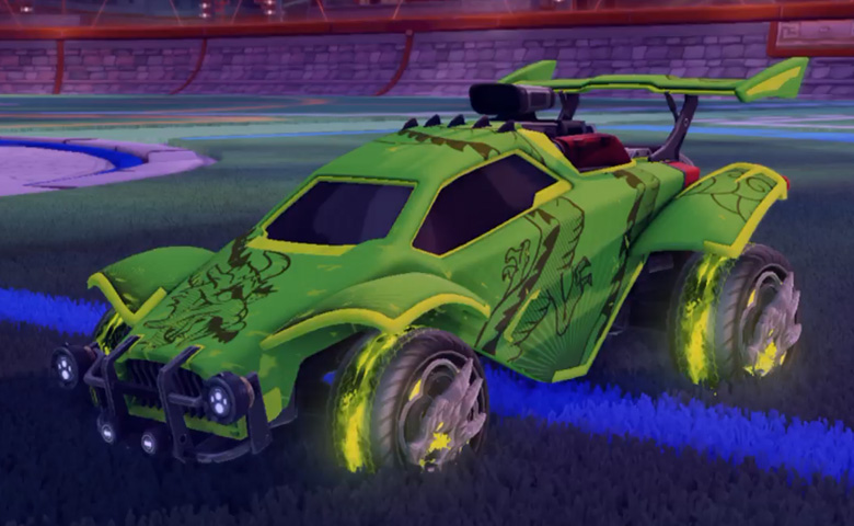 Rocket league Octane Lime design with Draco,Dragon Lord