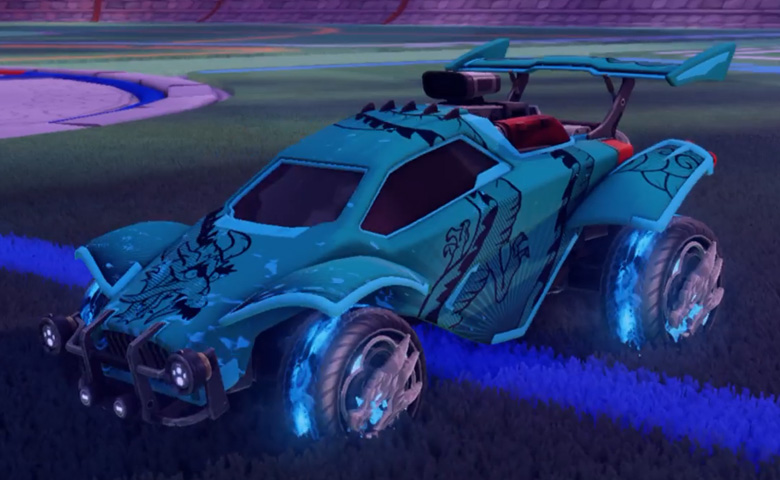 Rocket league Octane Sky Blue design with Draco,Dragon Lord