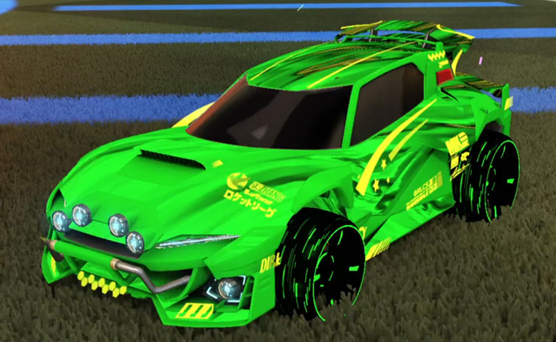 Rocket league Mudcat GXT Forest Green design with Blade Wave,Tidal Stream