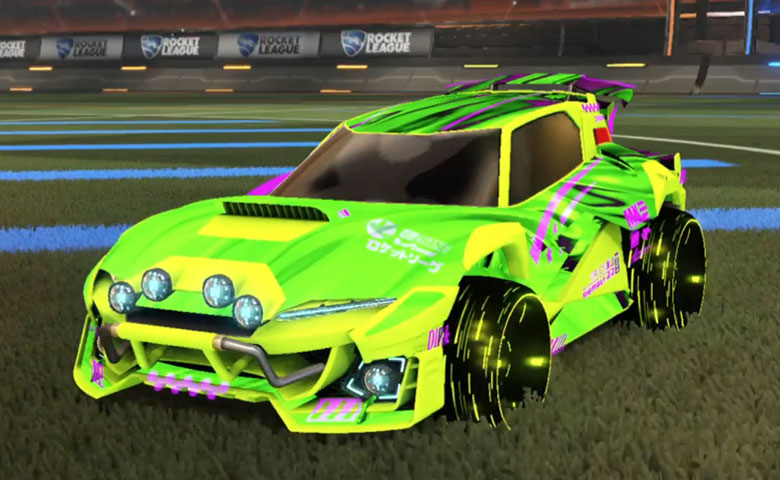 Rocket league Mudcat GXT Lime design with Blade Wave,Tidal Stream
