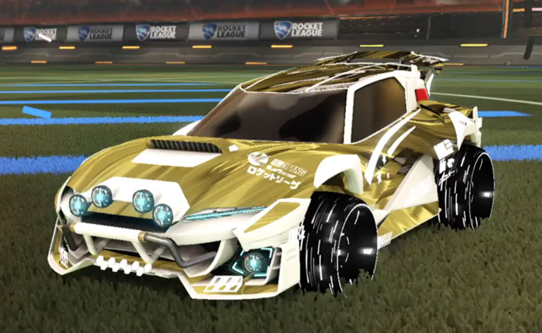 Rocket league Mudcat GXT Titanium White design with Blade Wave,Tidal Stream