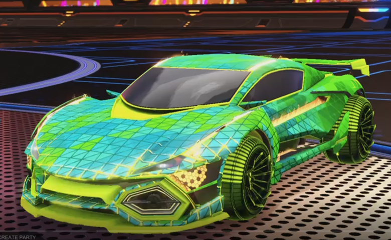 Rocket league R3MX GXT Lime design with Polyergic: Inverted,Trigon