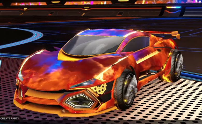 Rocket league R3MX GXT Orange design with Draco,Interstellar