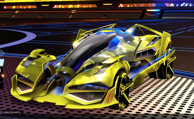 Rocket league Artemis GXT Saffron design with CNTCT-1: Infinite,Interstellar