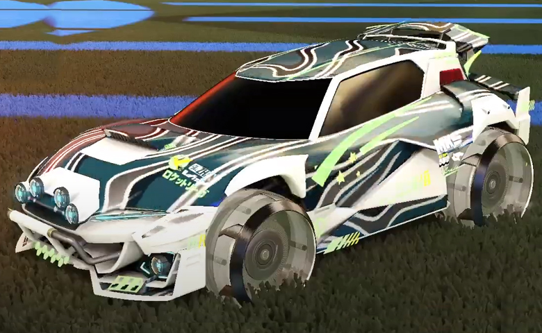 Rocket league Mudcat GXT Titanium White design with Irradiator,Hydro Paint