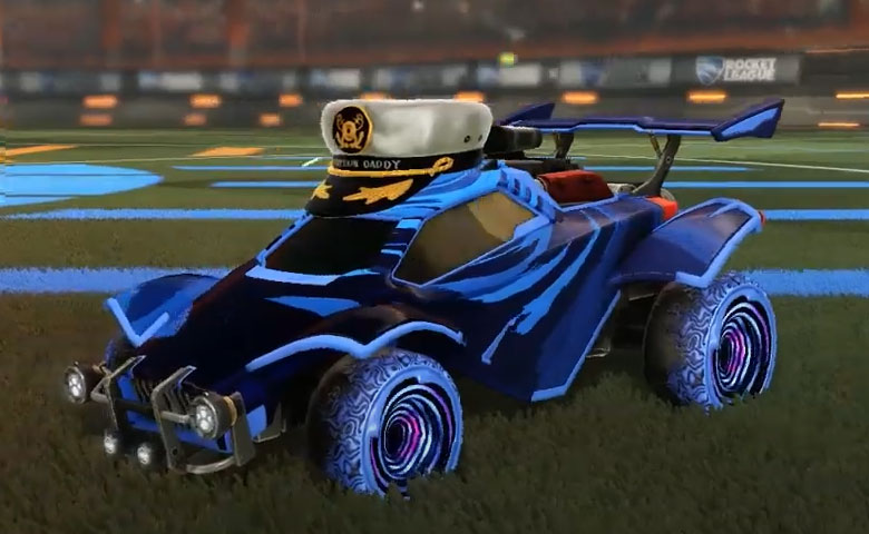 Rocket league Octane Cobalt design with Hypnotik,Storm Watch,Captain's Hat