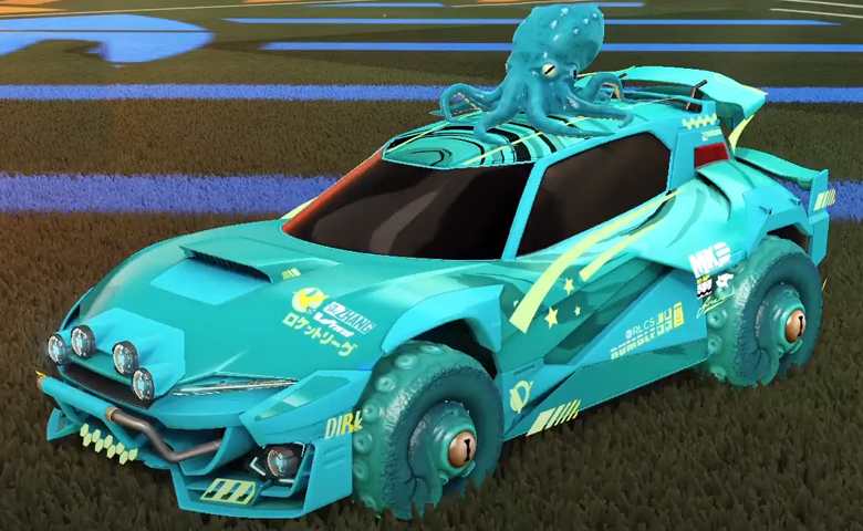 Rocket league Mudcat GXT Sky Blue design with Cephalo,Storm Watch