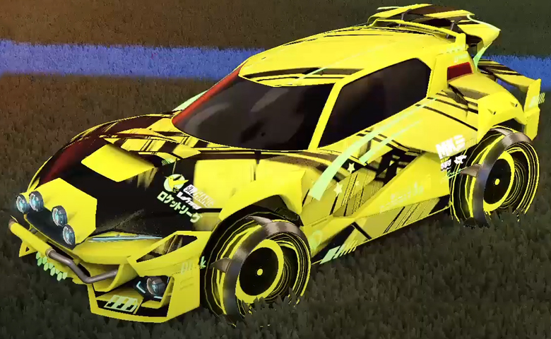 Rocket league Mudcat GXT Saffron design with Irradiator,Slipstream