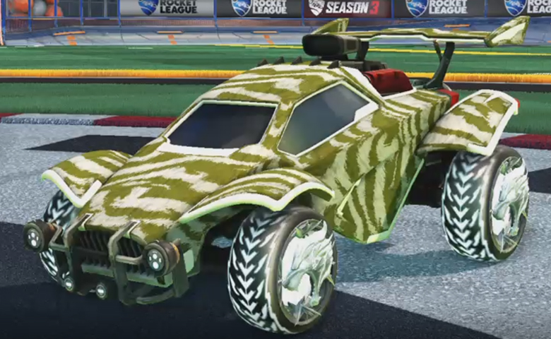 Rocket league Octane Titanium White design with Dire Wolf,Tora